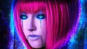 Фото LOL Макияж Лицо Волосы Розовый Orianna Lady of Clockwork Игры Фэнтези Девушки