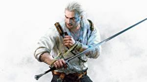 Обои The Witcher 3: Wild Hunt Мужчины Геральт из Ривии Мечи CD Projekt RED Hearts of Stone Игры фото