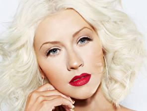 Фотография Christina Aguilera Блондинка Мейкап Лицо Смотрит Знаменитости Девушки