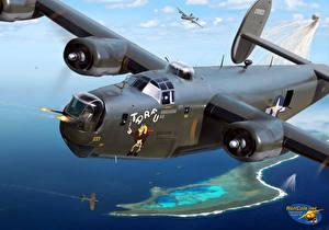 Обои Самолеты Рисованные B-24J 'TARFU' over Truk Авиация фото