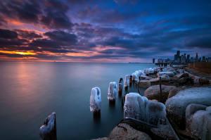 Картинки США Зимние Рассвет и закат Чикаго город Горизонт Облака Природа Города