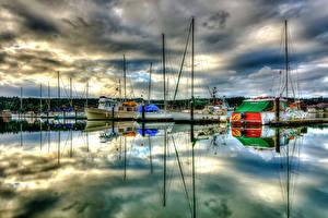 Фото Штаты Лодки Яхта Причалы Облако HDRI Poulsbo Marina Washington Города