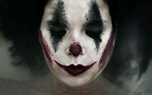 Обои Лицо Макияж Клоун Sad clown Девушки