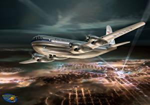 Обои Самолеты Рисованные Пассажирские Самолеты Ночь Boeing 377 Stratocruiser Авиация фото