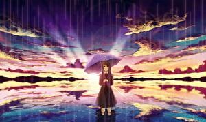 Фотографии Рассветы и закаты Дождь Зонт Облака amemura Аниме Девушки