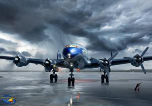 Обои Самолеты Рисованные Облака Pan Am Lockheed Constellation Авиация фото