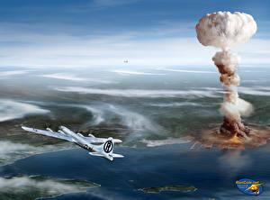 Обои Самолеты Рисованные Взрывы Дым B-29 Hiroshima Авиация фото