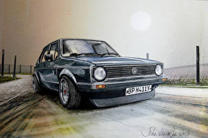 Картинки Фольксваген Рисованные VW Golf II GTI Автомобили