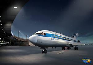 Обои Самолеты Рисованные Пассажирские Самолеты Ночь Pan Am Boeing 727 at Berlin Tempelhof Авиация фото