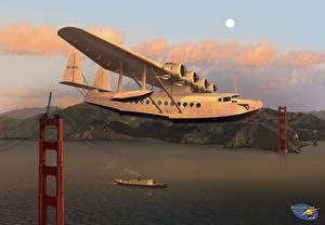Обои Самолеты Рисованные Pan Am Sikorsky S-42 over the Golden Gate Bridge Авиация фото