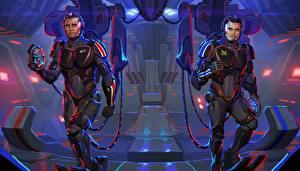 Картинки Mass Effect Вдвоем Kaidan Alenko Shepard crossover Pacific Rim Фэнтези