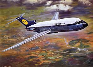 Обои Самолеты Пассажирские Самолеты Boeing B-727 Lufthansa Авиация фото