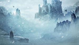 Фотография Замок Зима Воины Снега Фэнтези Животные
