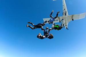 Обои Самолеты Небо Прыжок Parachute Авиация фото