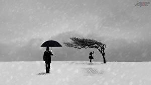 Обои Зима Рисованные Зонт Силуэт