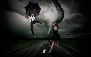 Фотографии Дороги Мужчины Зонт Платье Tornado Смешные Девушки