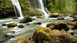 Картинка Реки Водопады Камень Природа
