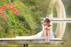 Картинка Азиаты Платья Невеста Ноги Шатенки Сидит Девушки