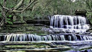Обои Водопады Леса Камни Природа