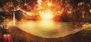 Обои Озеро Горы Пейзаж Скамейка Природа