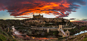 Фотография Испания Пейзаж Речка Замки Толедо Облака Города