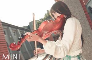 Обои Скрипки Азиатки молодая женщина