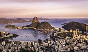 Фото Бразилия Берег Дома Горы Рио-де-Жанейро Сверху Guanabara Bay Sugarloaf Mountain Города