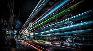 Фотография Англия Здания Лондон Ночью Едущий Улица