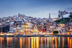 Картинка Португалия Здания Речка Побережье Порту Madeira