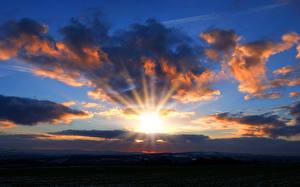 Фотография Рассветы и закаты Небо Облака Солнце Лучи света Природа