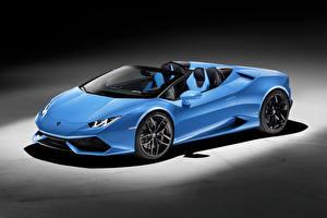 Картинка Lamborghini Кабриолета Голубой 2015 Huracan Автомобили