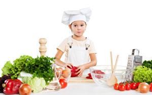 Картинка Овощи Помидоры Лук репчатый Девочка Униформа Повар ребёнок