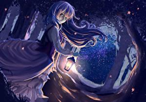 Фото Платье Уличные фонари Ночь ryouya Девушки
