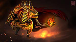 Картинка DOTA 2 Врайс кинг Воители Волшебство Нечисть Скелет Доспехи Шлем Мечи Игры Фэнтези