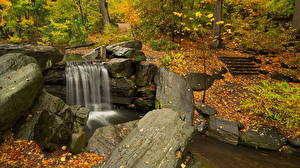 Фотография Осень Водопады Камни Природа