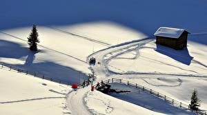 Фото Зимние Мост Дома Дороги Снега Сверху Природа