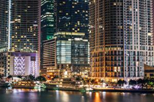 Обои США Небоскребы Дома Флорида Майами Ночь Города фото