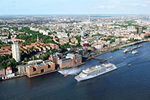 Картинки Германия Гамбург Круизный лайнер Море Берег Скала Города