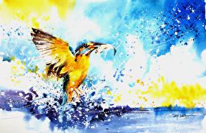 Обои Птицы Рисованные Обыкновенный зимородок Рыбы Брызги