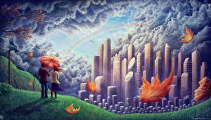 Картинки Влюбленные пары Живопись Небоскребы Радуга Листья Зонт Облака Города Фэнтези