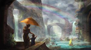 Картинка Фантастический мир Вдвоем Туман Зонт Радуга Фантастика
