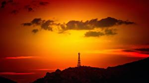 Фотографии Рассветы и закаты Облака Природа