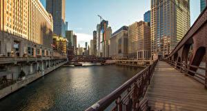 Картинки США Небоскребы Реки Мосты Чикаго город Illinois Города