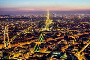 Обои Франция Париже Эйфелева башня Сверху Города