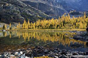 Картинки Озеро Горы Осень Пейзаж Камни Природа