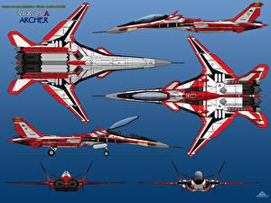 Обои Самолеты Истребители YFX-25A 6-View Prototype RED ONE Авиация фото