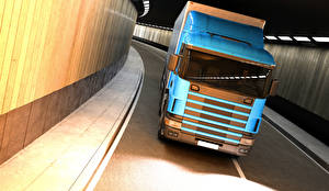 Фотографии Грузовики Голубой Спереди машины 3D_Графика