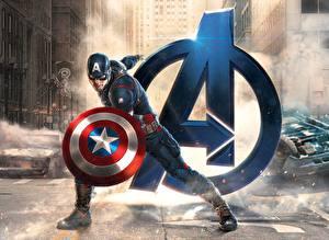 Картинка Мстители: Эра Альтрона Капитан Америка герой Логотип эмблема Щит Marvel Фильмы Фэнтези