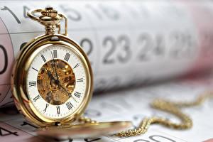 Картинки Часы Карманные часы Крупным планом Цепь Золотые