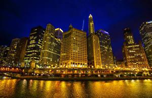 Обои Штаты Небоскребы Реки Дома Чикаго город Ночные Города